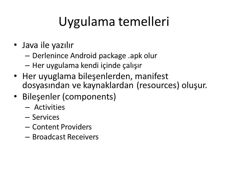 Uygulama temelleri Java ile yazılır