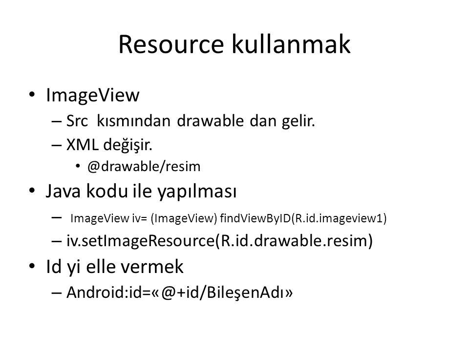 Resource kullanmak ImageView Java kodu ile yapılması Id yi elle vermek