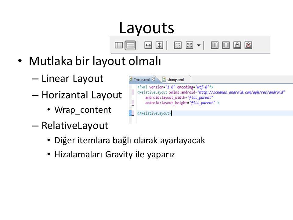 Layouts Mutlaka bir layout olmalı Linear Layout Horizantal Layout