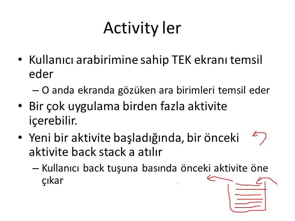 Activity ler Kullanıcı arabirimine sahip TEK ekranı temsil eder