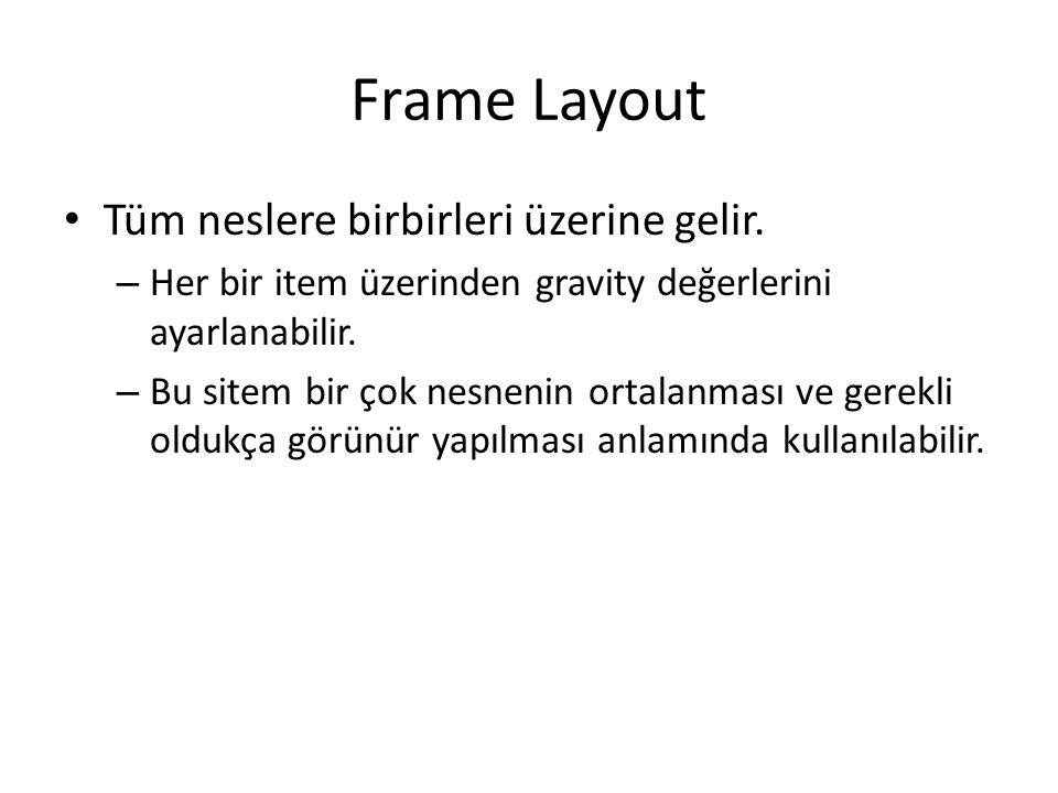 Frame Layout Tüm neslere birbirleri üzerine gelir.