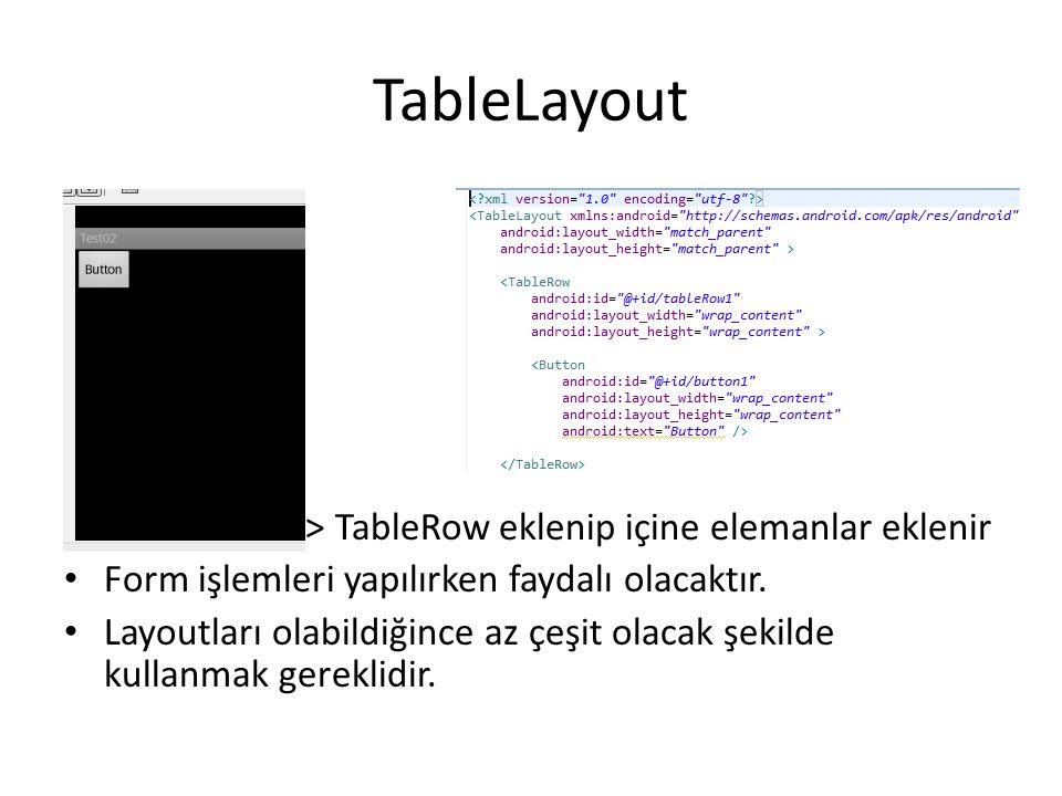 TableLayout TableLayout > TableRow eklenip içine elemanlar eklenir