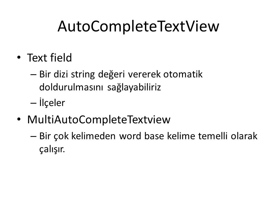 AutoCompleteTextView
