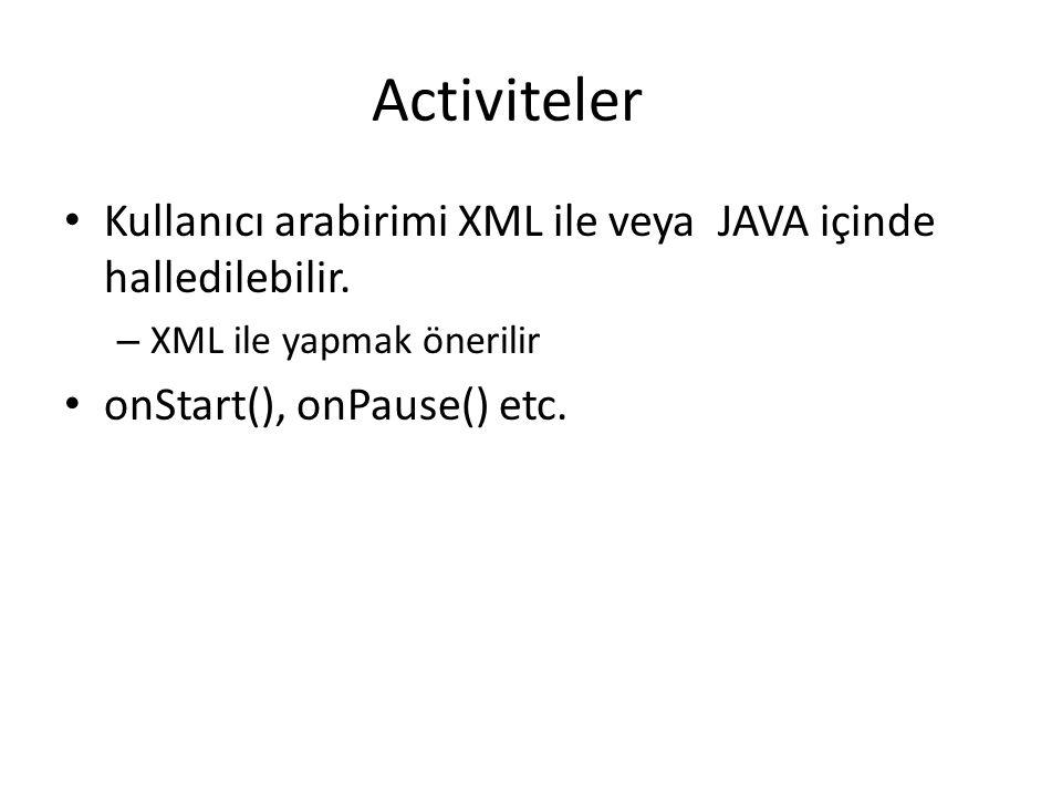 Activiteler Kullanıcı arabirimi XML ile veya JAVA içinde halledilebilir. XML ile yapmak önerilir.