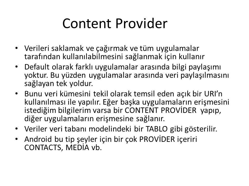 Content Provider Verileri saklamak ve çağırmak ve tüm uygulamalar tarafından kullanılabilmesini sağlanmak için kullanır.