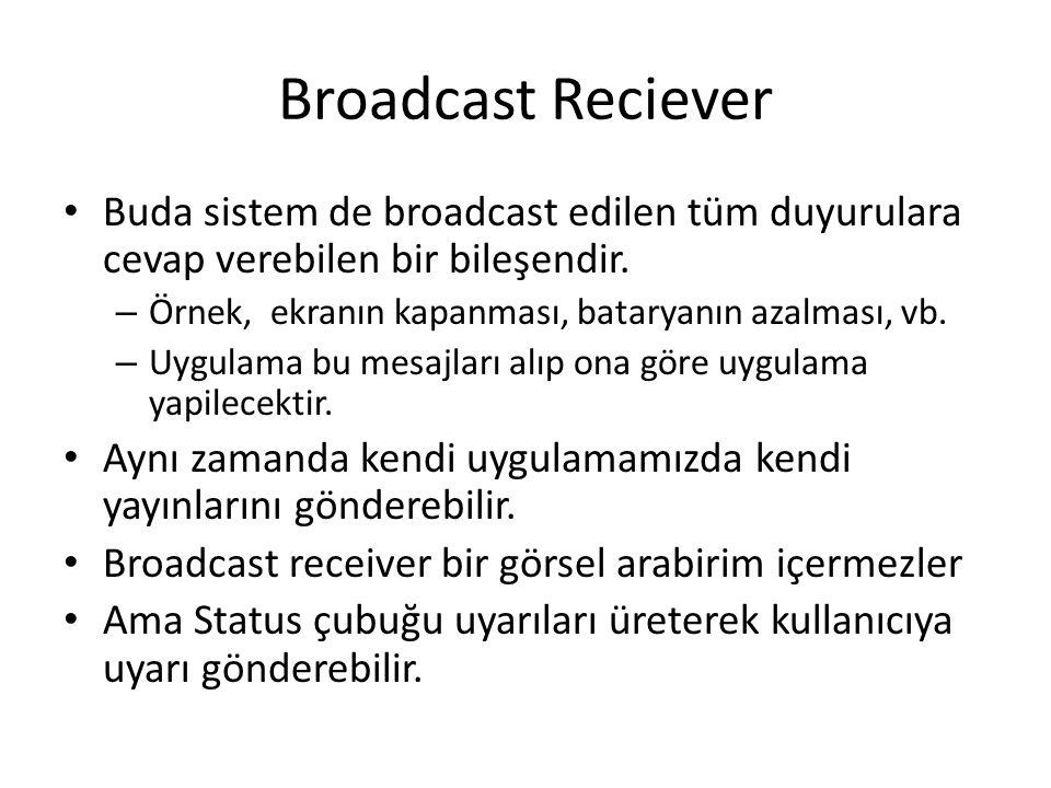Broadcast Reciever Buda sistem de broadcast edilen tüm duyurulara cevap verebilen bir bileşendir.