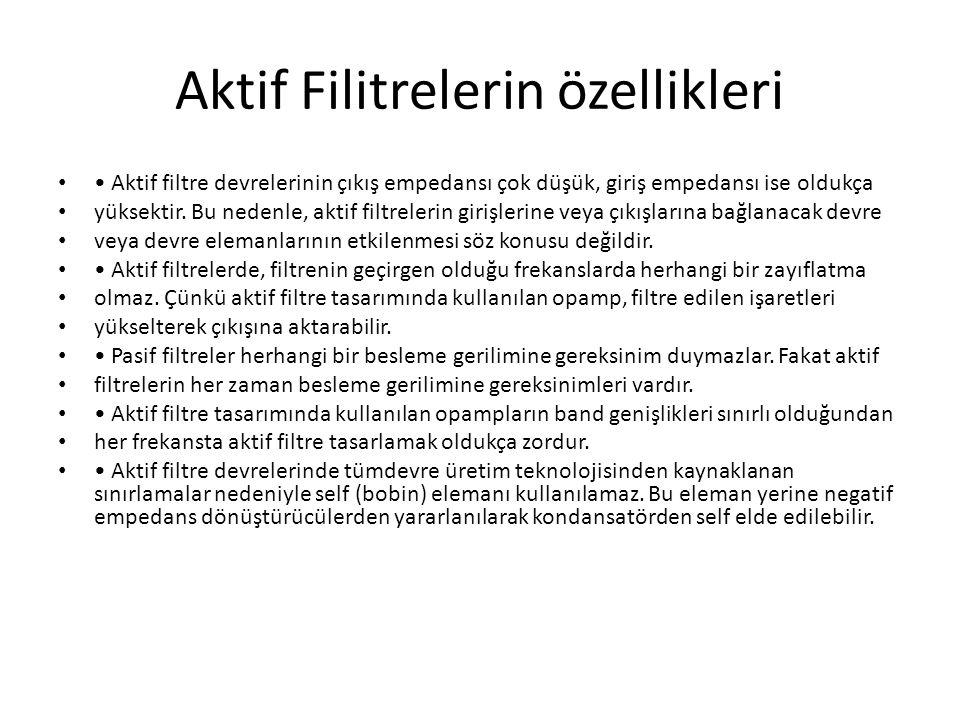 Aktif Filitrelerin özellikleri
