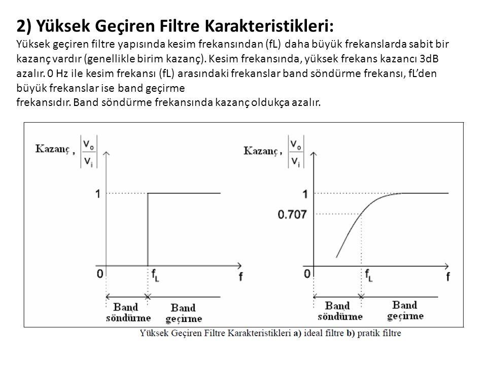 2) Yüksek Geçiren Filtre Karakteristikleri:
