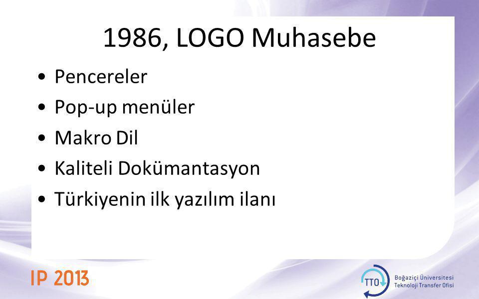1986, LOGO Muhasebe Pencereler Pop-up menüler Makro Dil