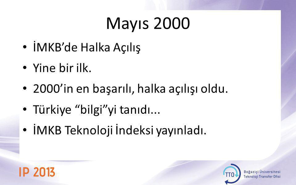 Mayıs 2000 İMKB'de Halka Açılış Yine bir ilk.