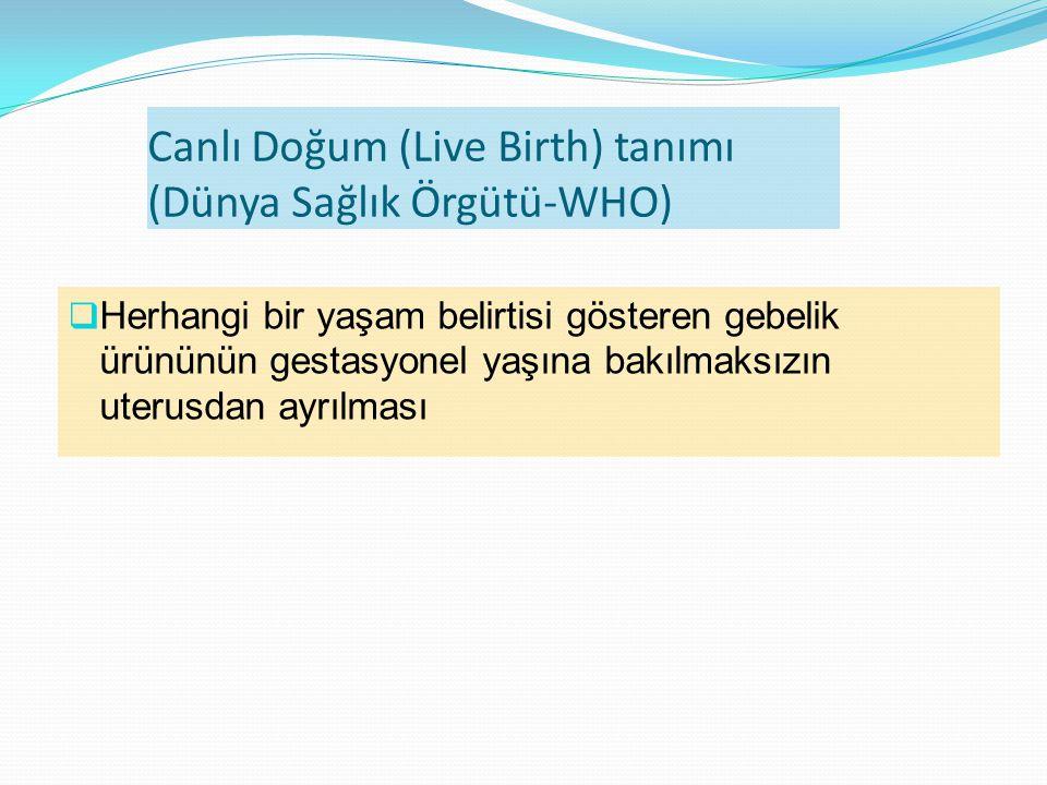Canlı Doğum (Live Birth) tanımı (Dünya Sağlık Örgütü-WHO)