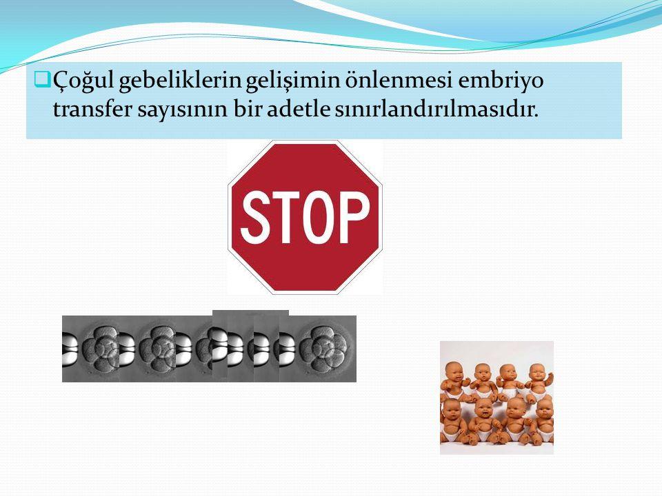Çoğul gebeliklerin gelişimin önlenmesi embriyo transfer sayısının bir adetle sınırlandırılmasıdır.