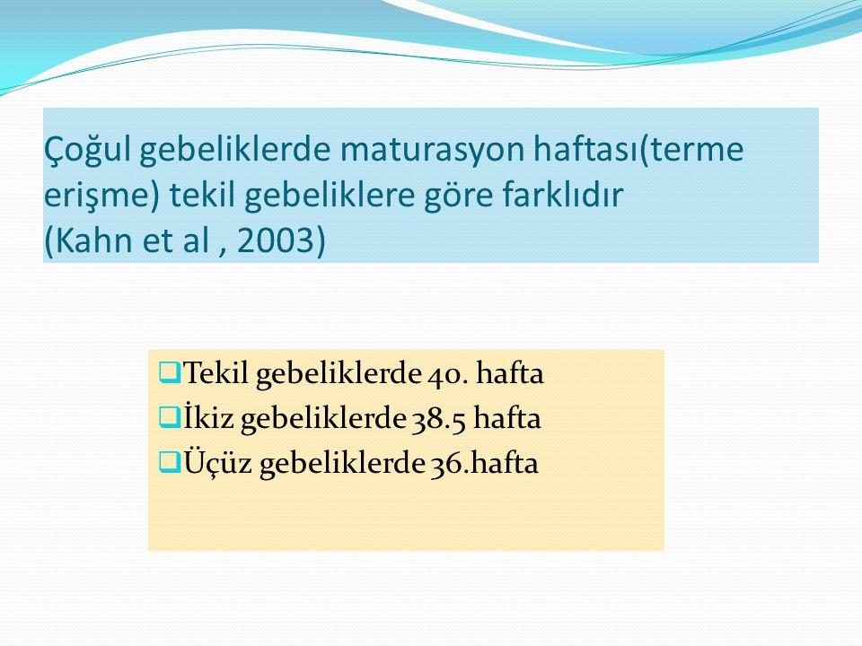 Çoğul gebeliklerde maturasyon haftası(terme erişme) tekil gebeliklere göre farklıdır (Kahn et al , 2003)