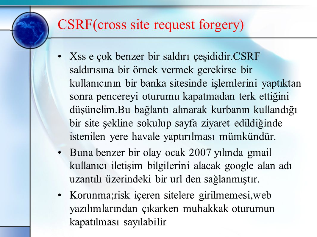 CSRF(cross site request forgery)