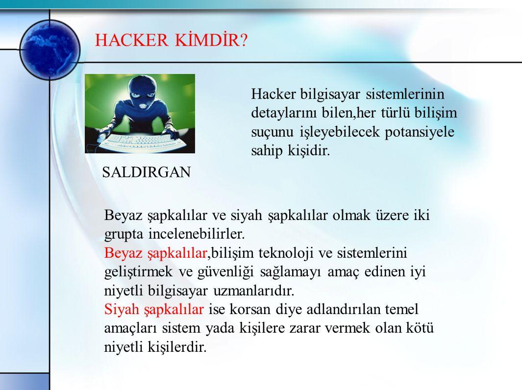 HACKER KİMDİR SALDIRGAN. Hacker bilgisayar sistemlerinin detaylarını bilen,her türlü bilişim. suçunu işleyebilecek potansiyele sahip kişidir.