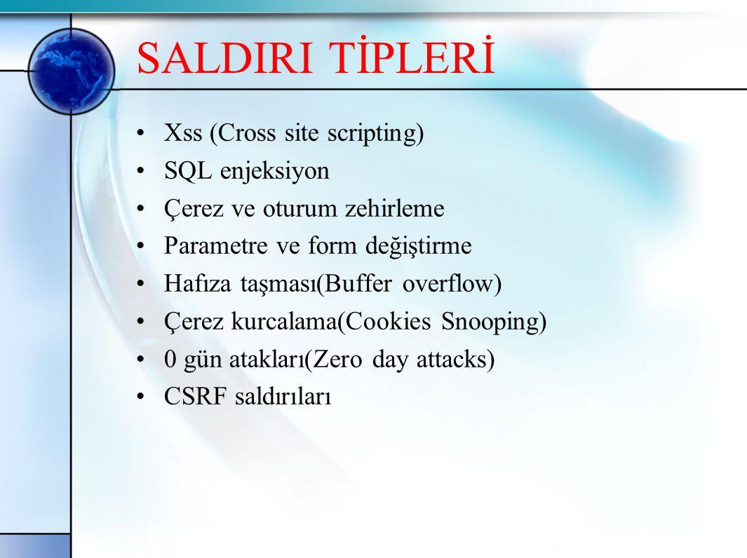 SALDIRI TİPLERİ Xss (Cross site scripting) SQL enjeksiyon