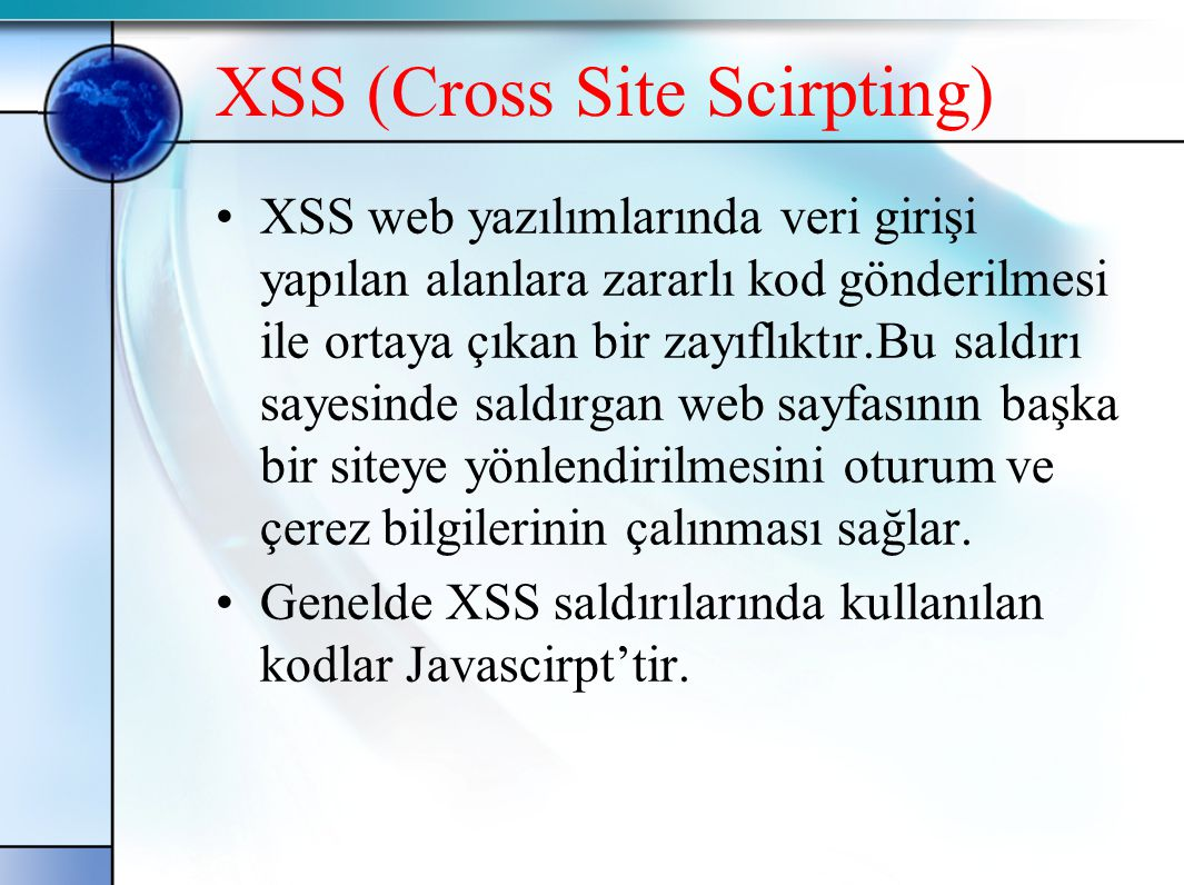 XSS (Cross Site Scirpting)