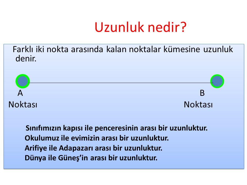 Uzunluk nedir Farklı iki nokta arasında kalan noktalar kümesine uzunluk denir. A B.