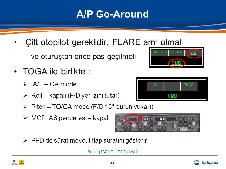 A/P Go-Around Çift otopilot gereklidir, FLARE arm olmalı