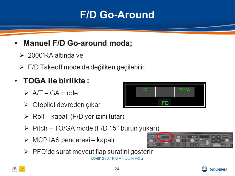 F/D Go-Around Manuel F/D Go-around moda; TOGA ile birlikte :