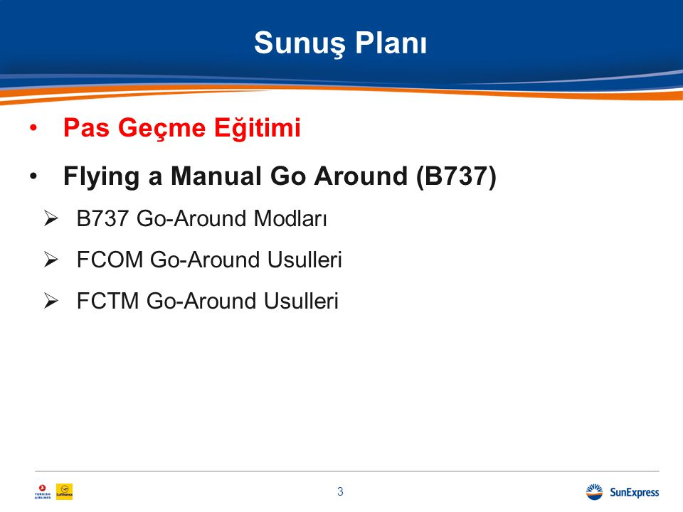 Sunuş Planı Pas Geçme Eğitimi Flying a Manual Go Around (B737)