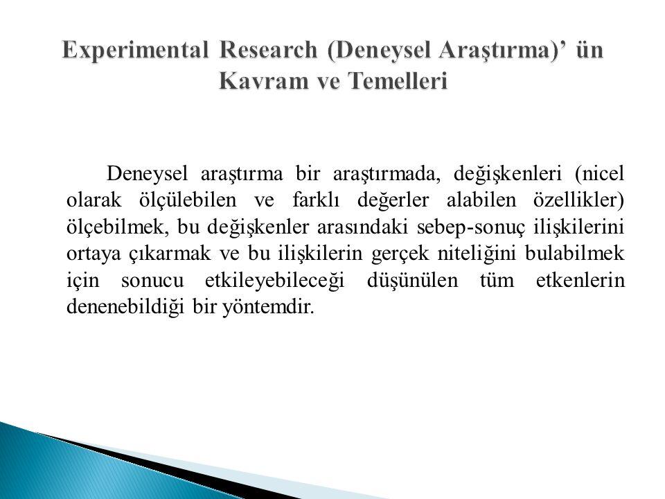 Experimental Research (Deneysel Araştırma)' ün Kavram ve Temelleri
