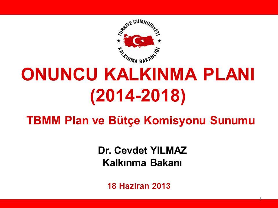 HH ONUNCU KALKINMA PLANI (2014-2018) TBMM Plan ve Bütçe Komisyonu Sunumu Dr. Cevdet YILMAZ Kalkınma Bakanı.