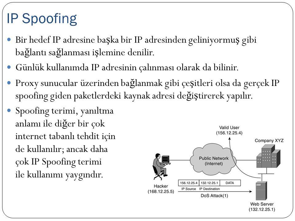 IP Spoofing Bir hedef IP adresine başka bir IP adresinden geliniyormuş gibi bağlantı sağlanması işlemine denilir.