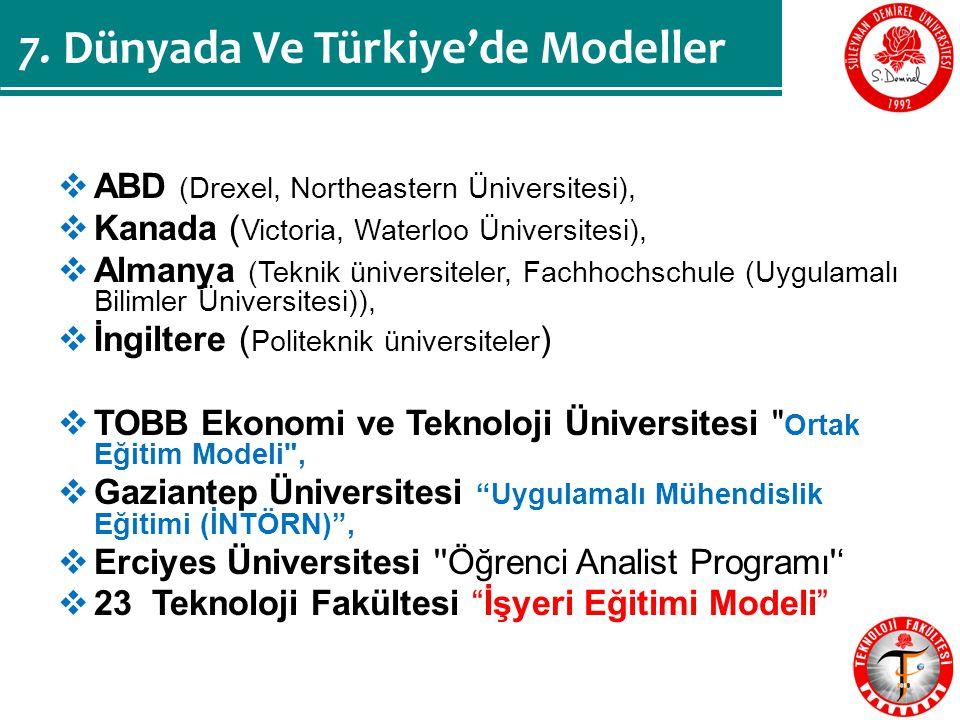 7. Dünyada Ve Türkiye'de Modeller