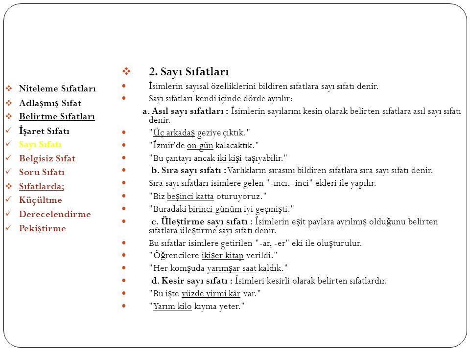 SIFATLAR (ÖN ADLAR) 2. Sayı Sıfatları