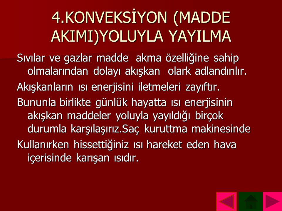 4.KONVEKSİYON (MADDE AKIMI)YOLUYLA YAYILMA