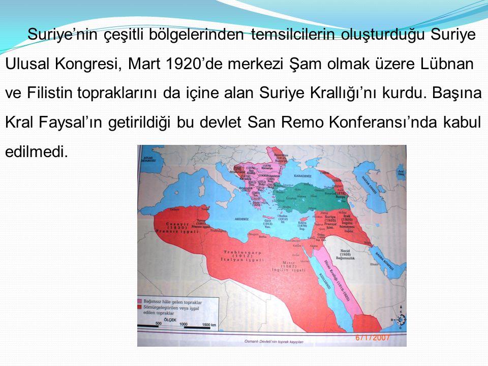 Suriye'nin çeşitli bölgelerinden temsilcilerin oluşturduğu Suriye Ulusal Kongresi, Mart 1920'de merkezi Şam olmak üzere Lübnan ve Filistin topraklarını da içine alan Suriye Krallığı'nı kurdu.