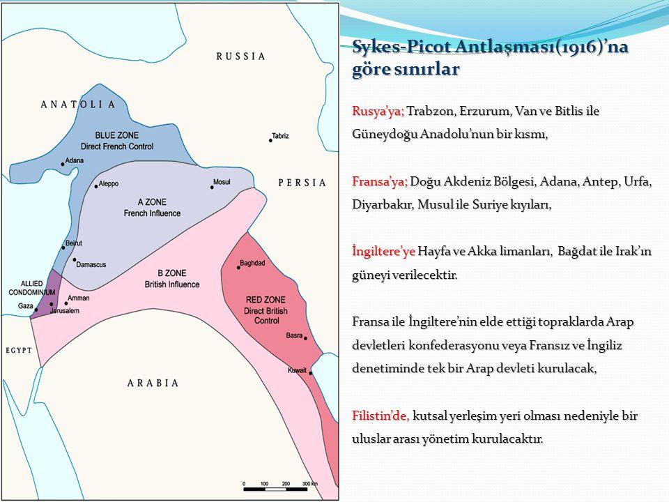 Sykes-Picot Antlaşması(1916)'na göre sınırlar