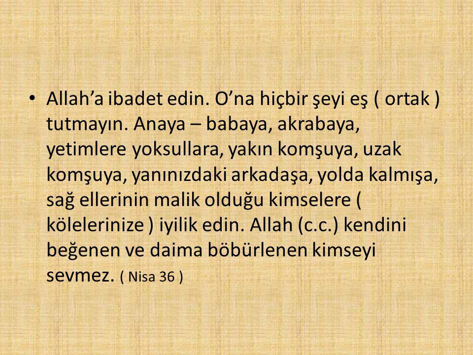 Allah'a ibadet edin. O'na hiçbir şeyi eş ( ortak ) tutmayın