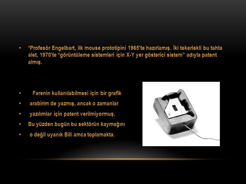 Profesör Engelbart, ilk mouse prototipini 1965′te hazırlamış