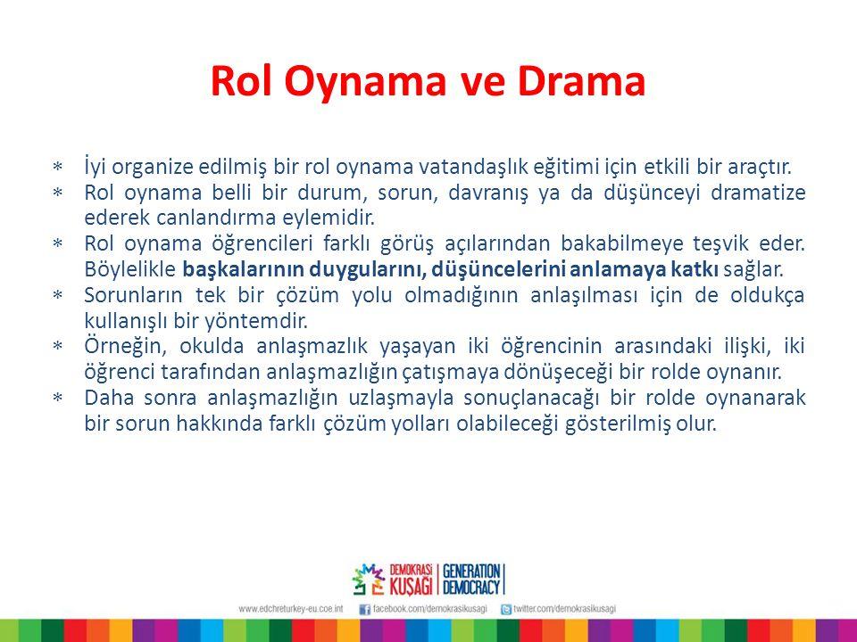 Rol Oynama ve Drama İyi organize edilmiş bir rol oynama vatandaşlık eğitimi için etkili bir araçtır.