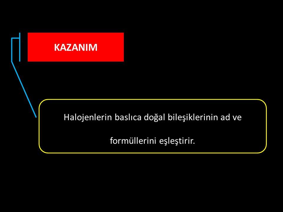 KAZANIM Halojenlerin baslıca doğal bileşiklerinin ad ve formüllerini eşleştirir.