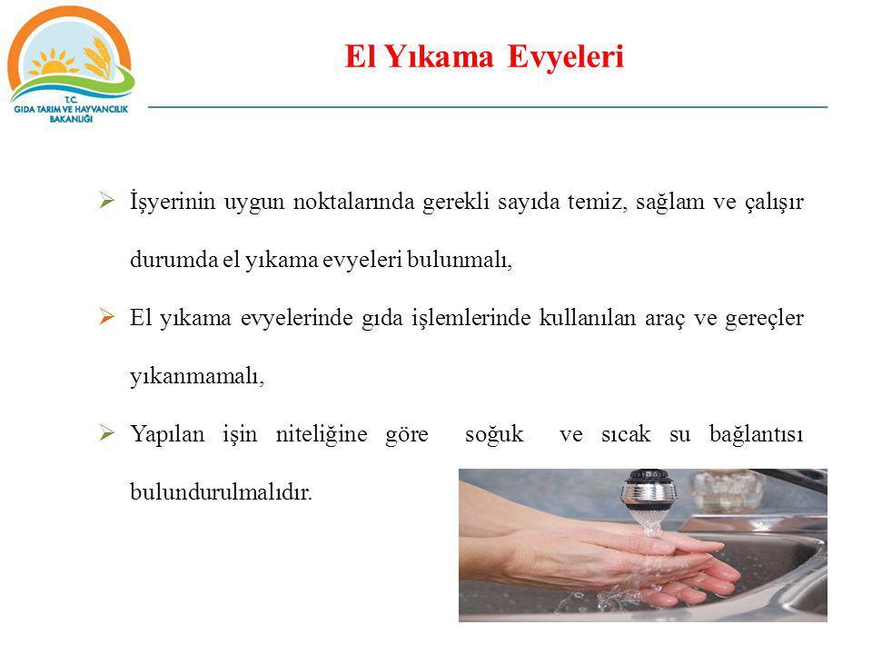 El Yıkama Evyeleri İşyerinin uygun noktalarında gerekli sayıda temiz, sağlam ve çalışır durumda el yıkama evyeleri bulunmalı,