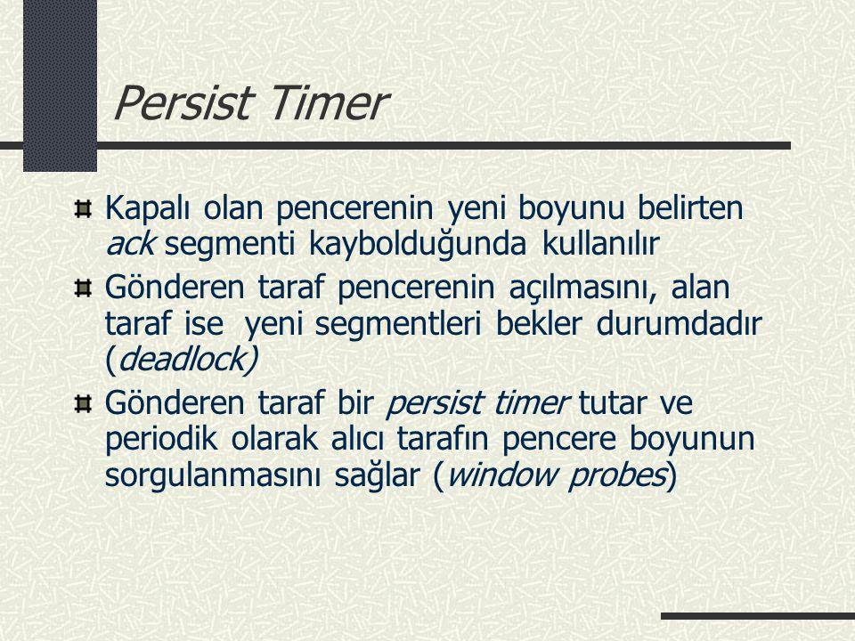 Persist Timer Kapalı olan pencerenin yeni boyunu belirten ack segmenti kaybolduğunda kullanılır.