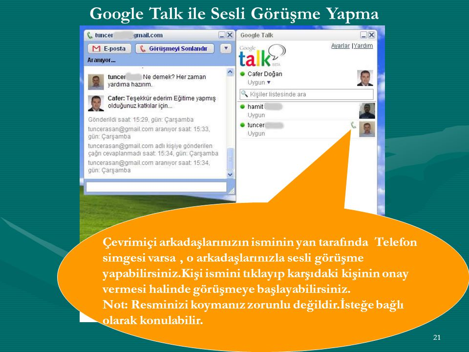 Google Talk ile Sesli Görüşme Yapma