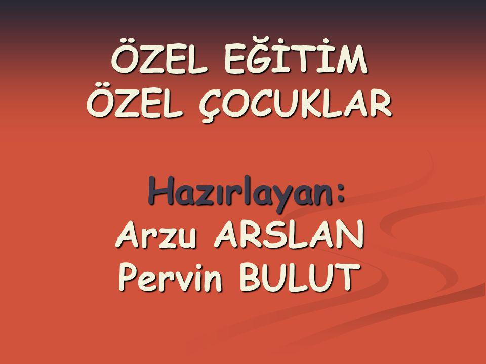 ÖZEL EĞİTİM ÖZEL ÇOCUKLAR Hazırlayan: Arzu ARSLAN Pervin BULUT