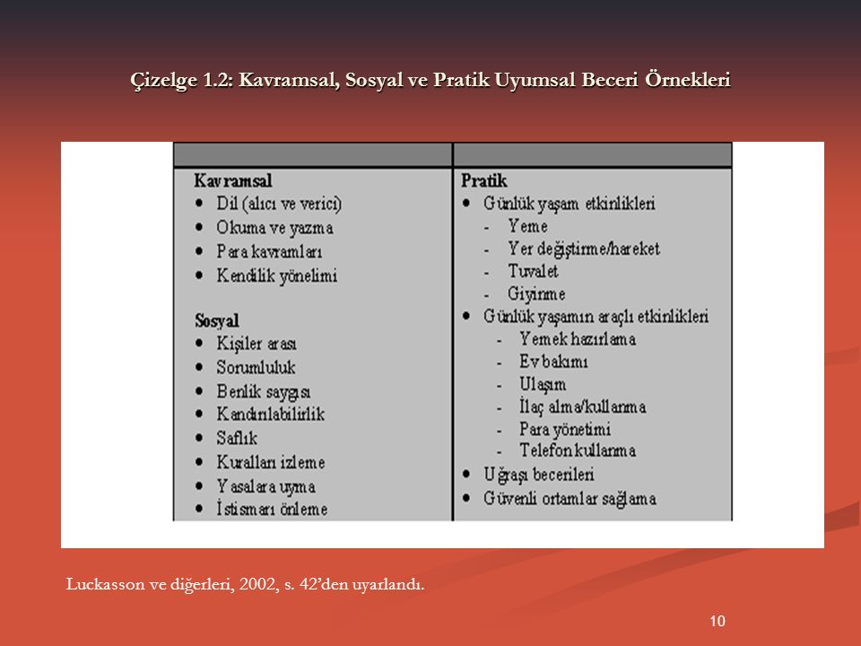 Çizelge 1.2: Kavramsal, Sosyal ve Pratik Uyumsal Beceri Örnekleri