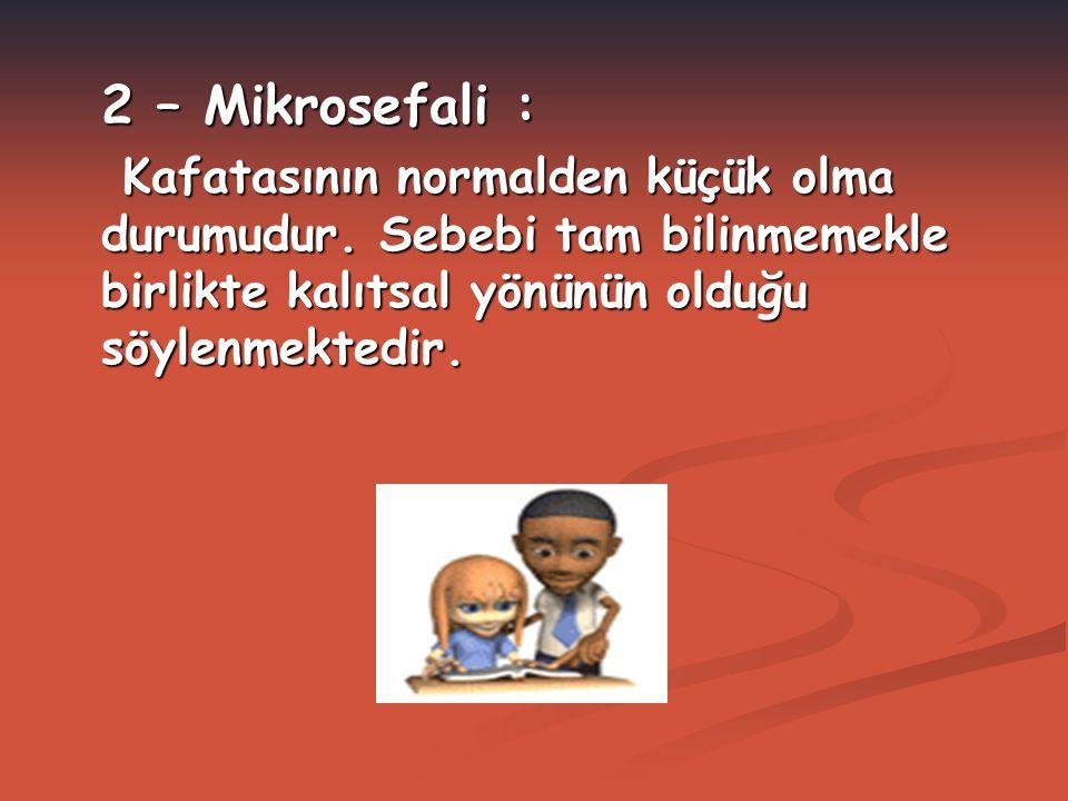 2 – Mikrosefali : Kafatasının normalden küçük olma durumudur.