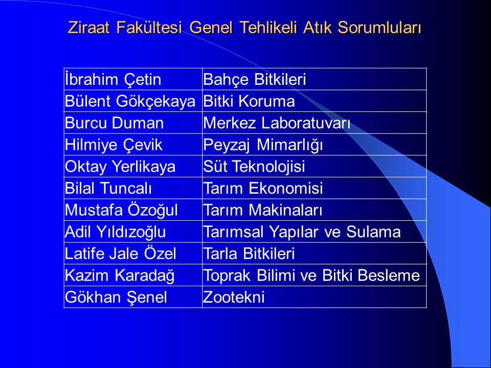 Ziraat Fakültesi Genel Tehlikeli Atık Sorumluları