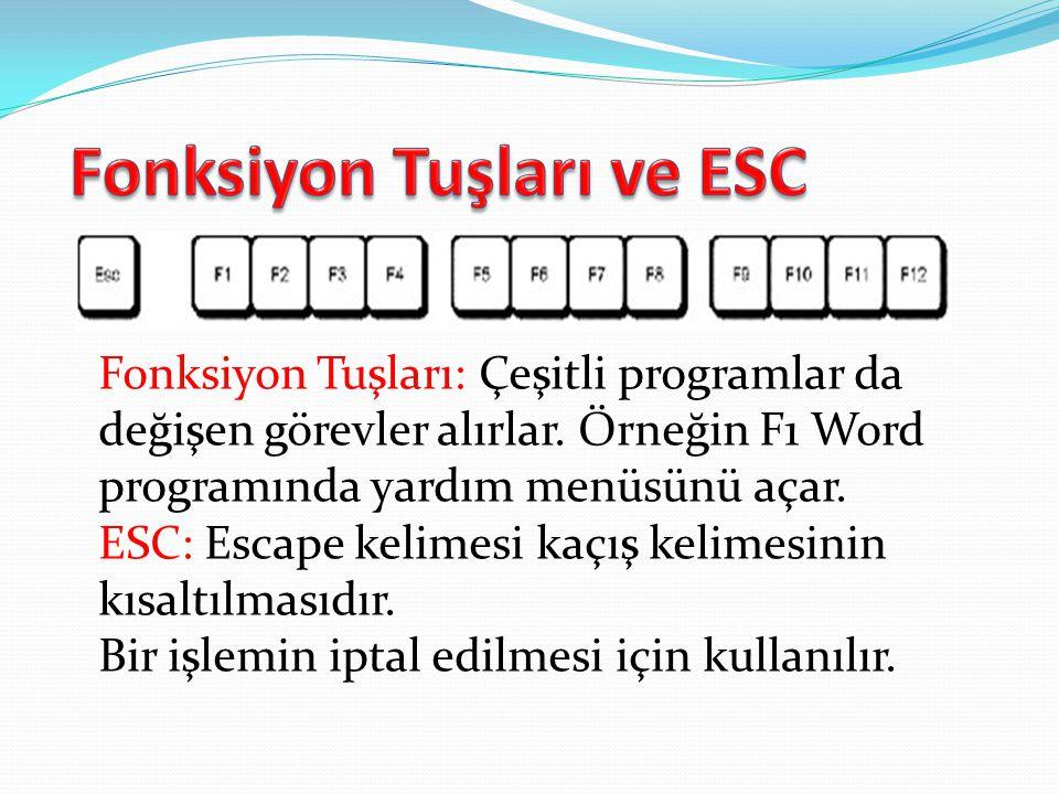 Fonksiyon Tuşları ve ESC