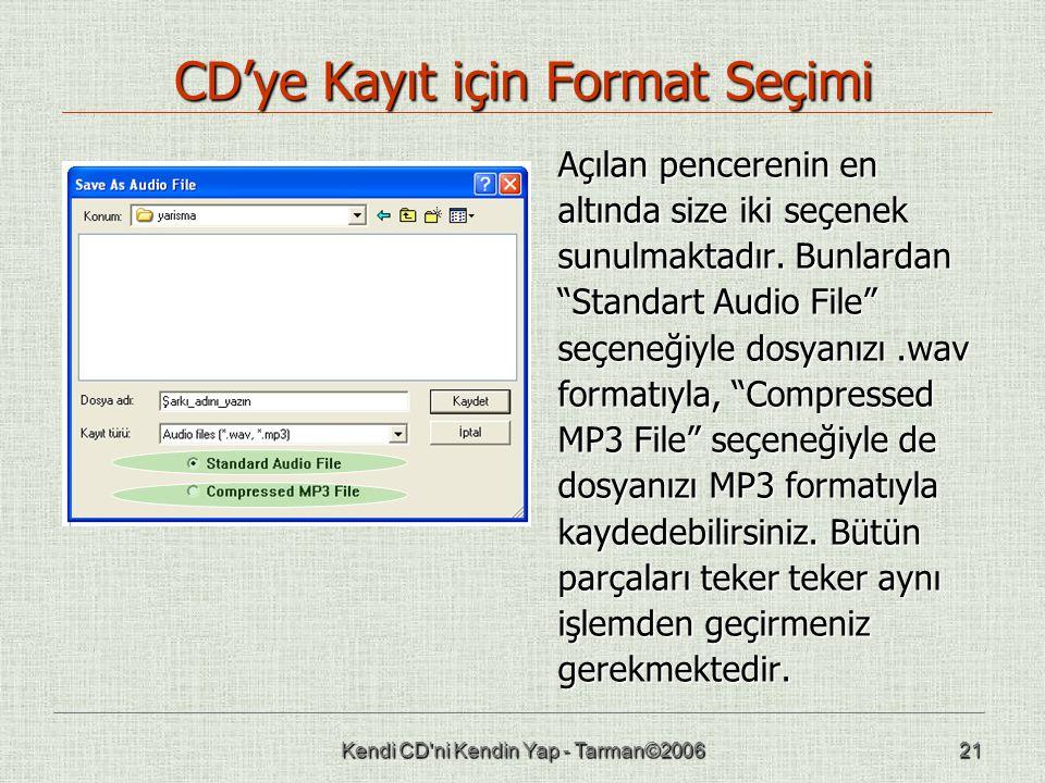 CD'ye Kayıt için Format Seçimi