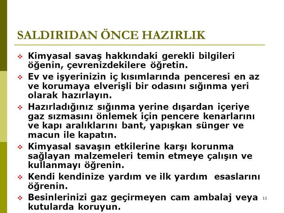 SALDIRIDAN ÖNCE HAZIRLIK