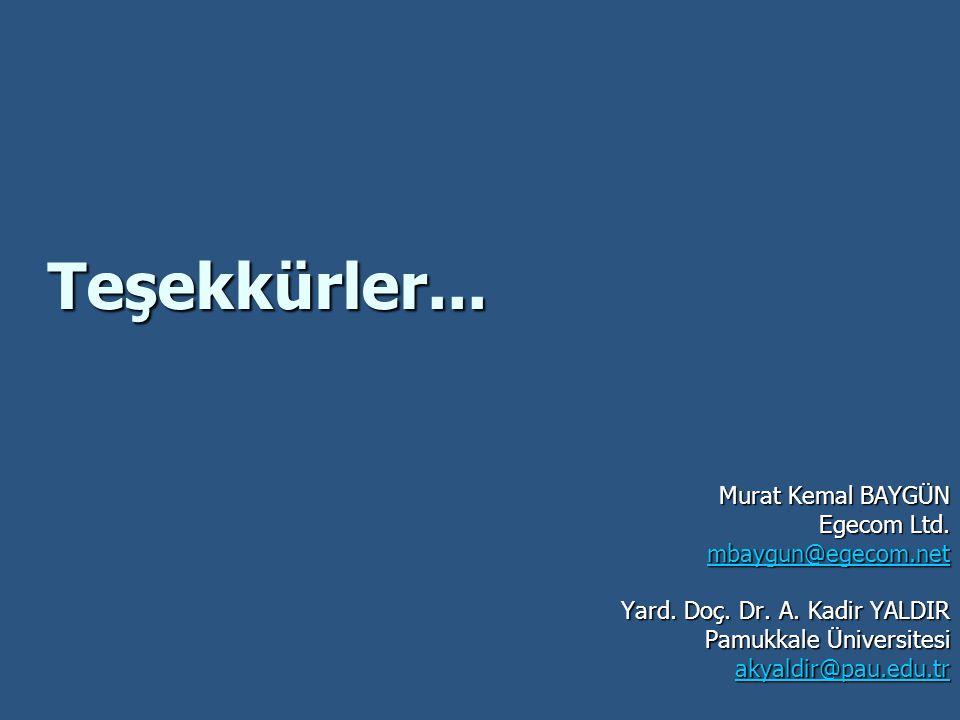 Teşekkürler... Murat Kemal BAYGÜN Egecom Ltd. mbaygun@egecom.net