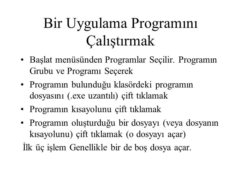 Bir Uygulama Programını Çalıştırmak