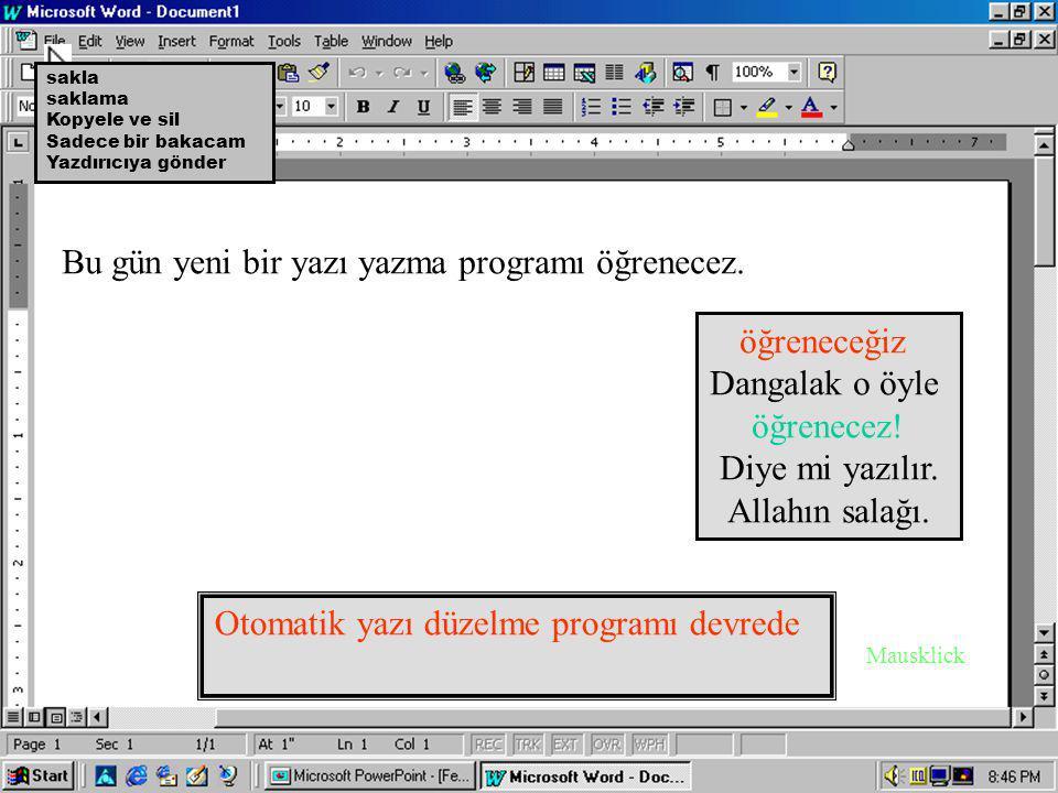Otomatik yazı düzelme programı devrede